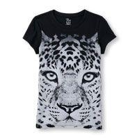 Girls Short Sleeve Leopard Face Graphic Tee