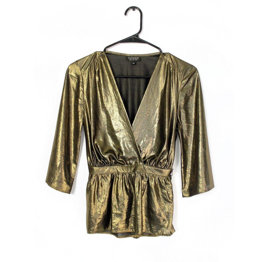 Topshop Gold Ballet Wrap Top 3/4 Sleeve US Size 2 Belt Tie