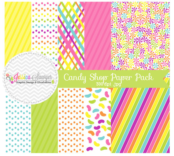 Instant Download Candy Background Rainbow Whimsical