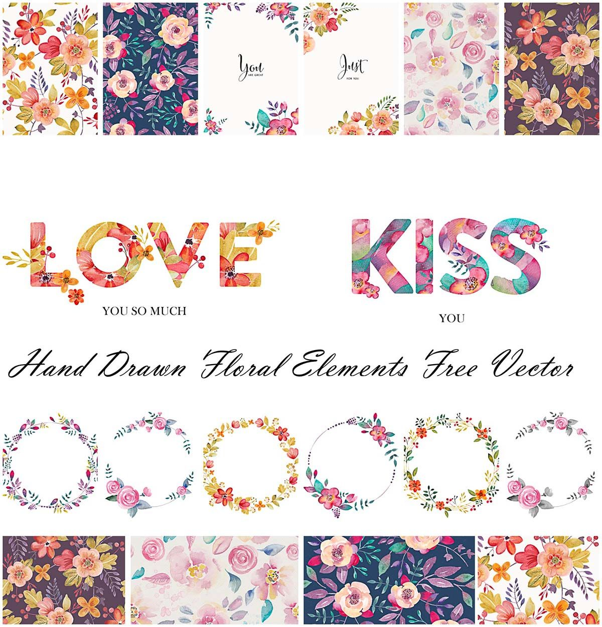 Hand drawn floral elements free vector hand drawn vector art and hand drawn floral elements free vector free download stopboris Image collections