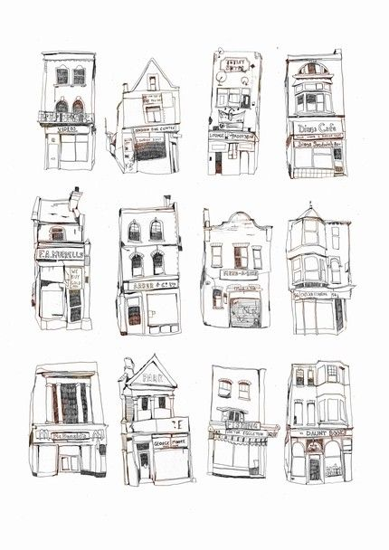 Patterns in the Kathmandu Skyline 12 London Shopfronts I love these illustrations by Melody Seal created on her travels.