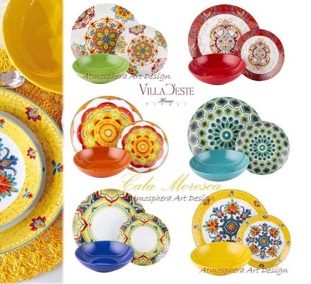 Villa d este servizio di piatti cala moresca 18pz 6 for Vajilla villa d este