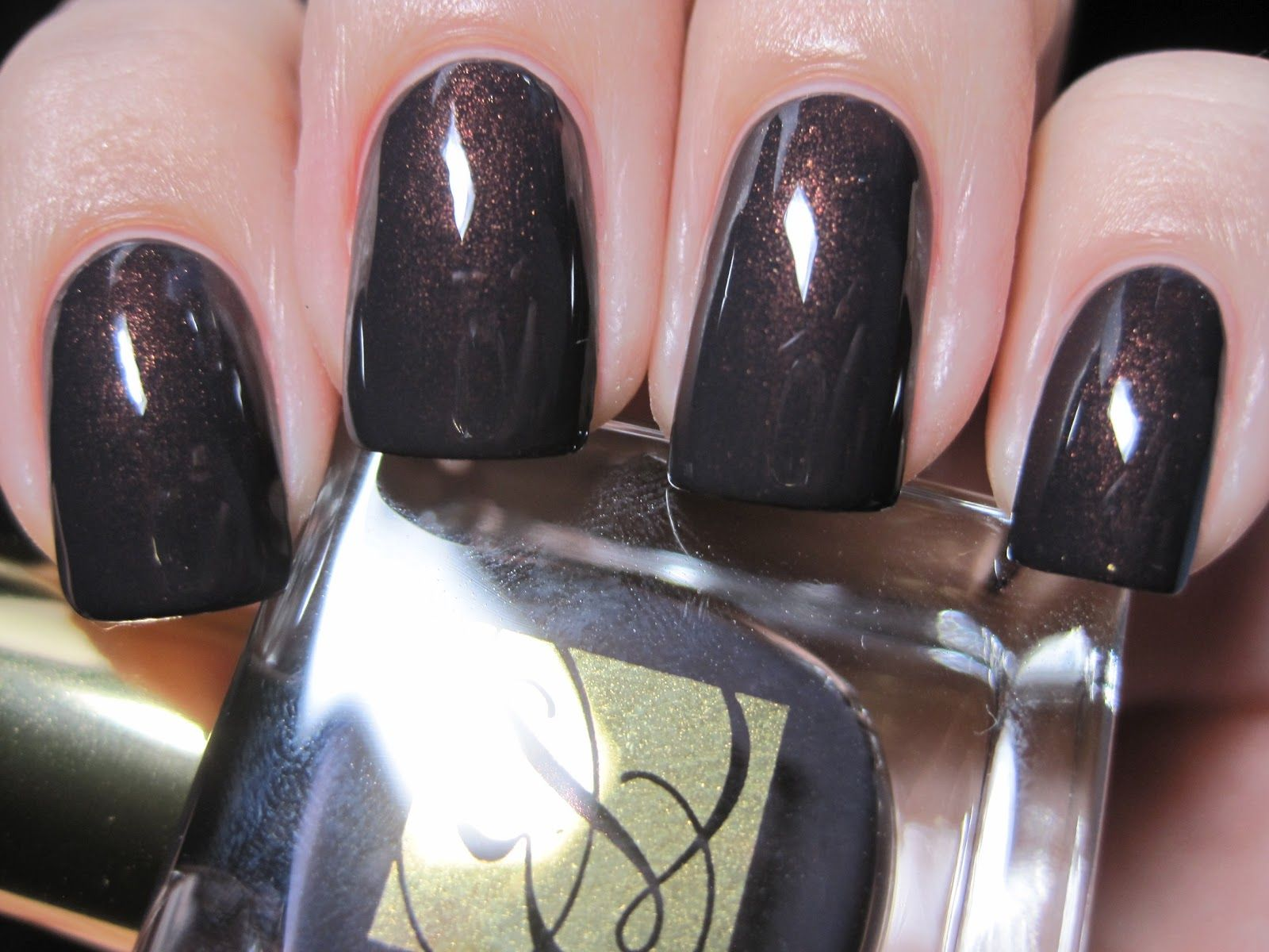 estee lauder nail polish - molten lava - dark with a barely there ...