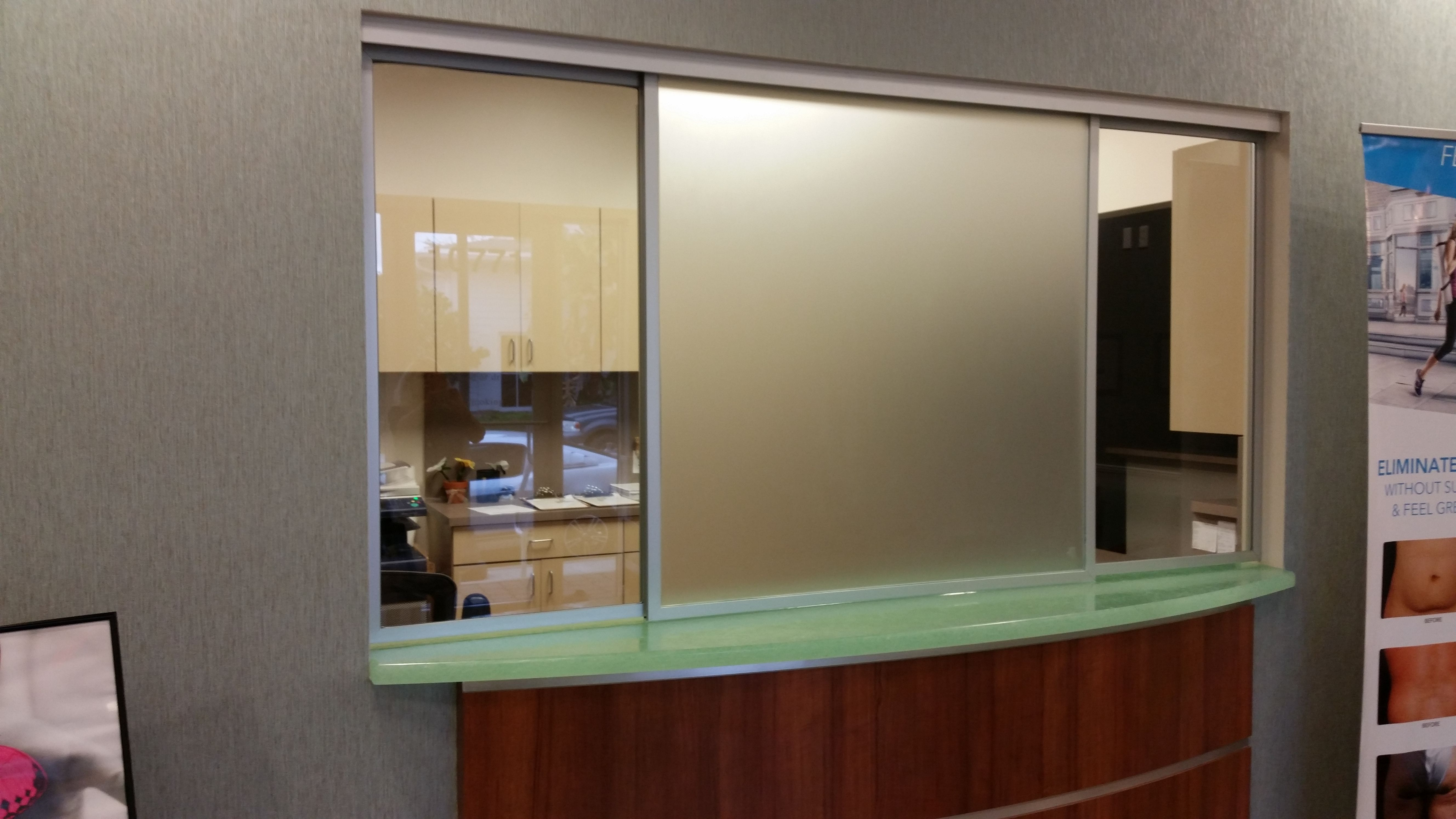 Frosted Horizontal Roller Reception Window Corporate Office Design Glass Office Office Layout