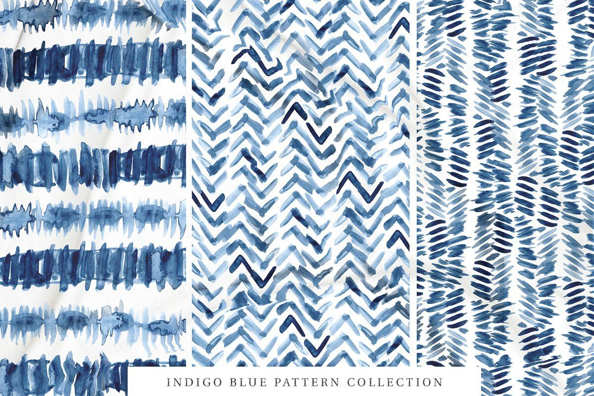 Ad 80 Indigo Blue Watercolor Patterns By Pink Coffie On