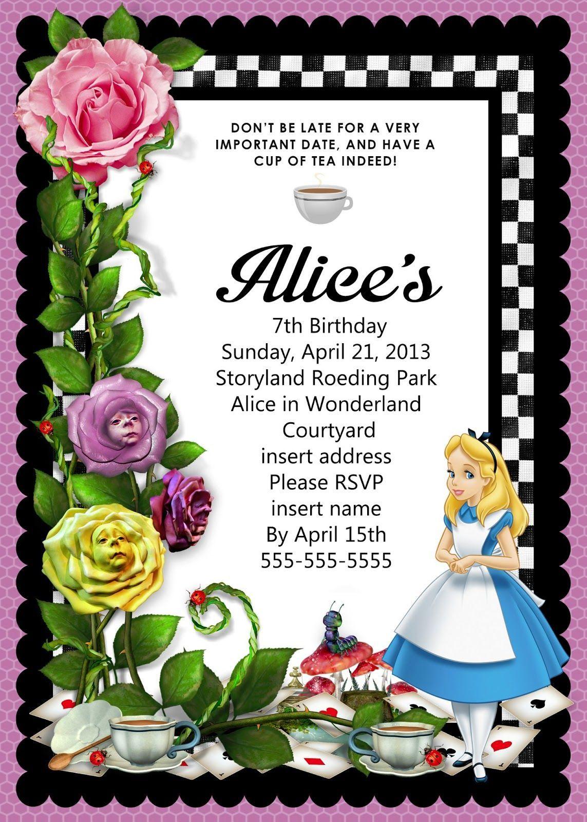 Cool Alice In Wonderland Blank Invitation Template 86 In