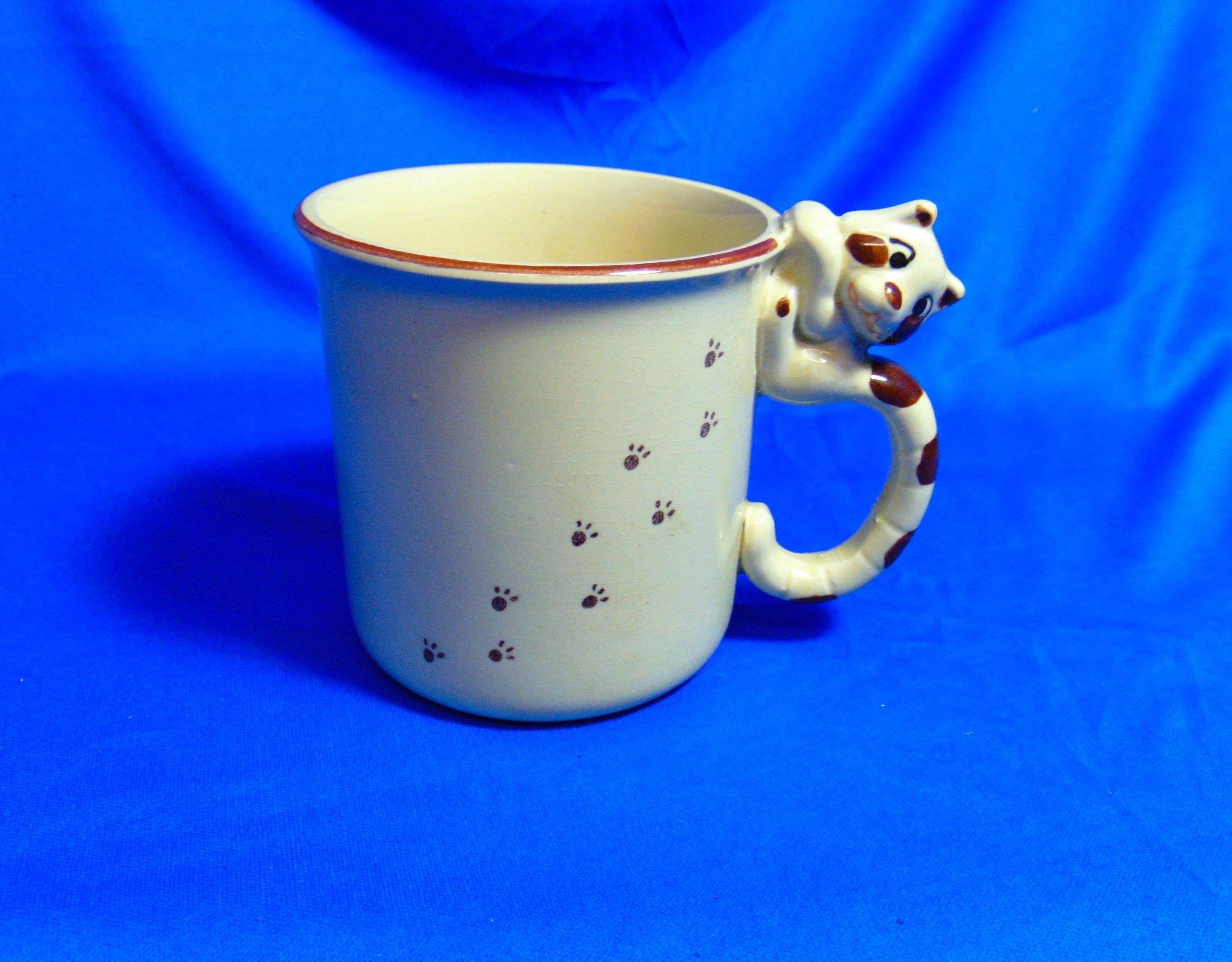 Striped Cat Mug Brown And Beige Coffee/Tea Mug Cat