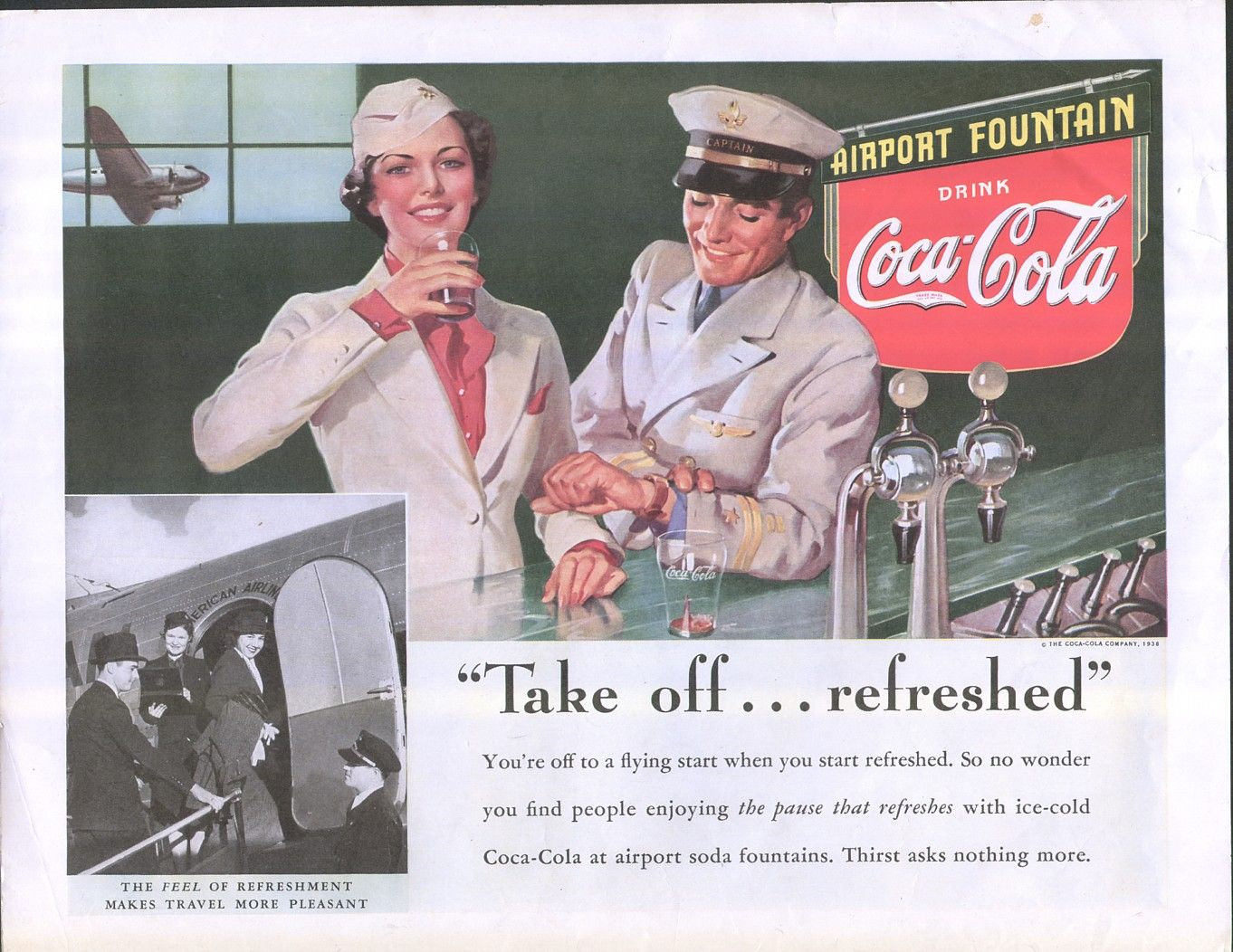 Vintage deco ad coca cola airport take off refreshed pilot and stewardest image1