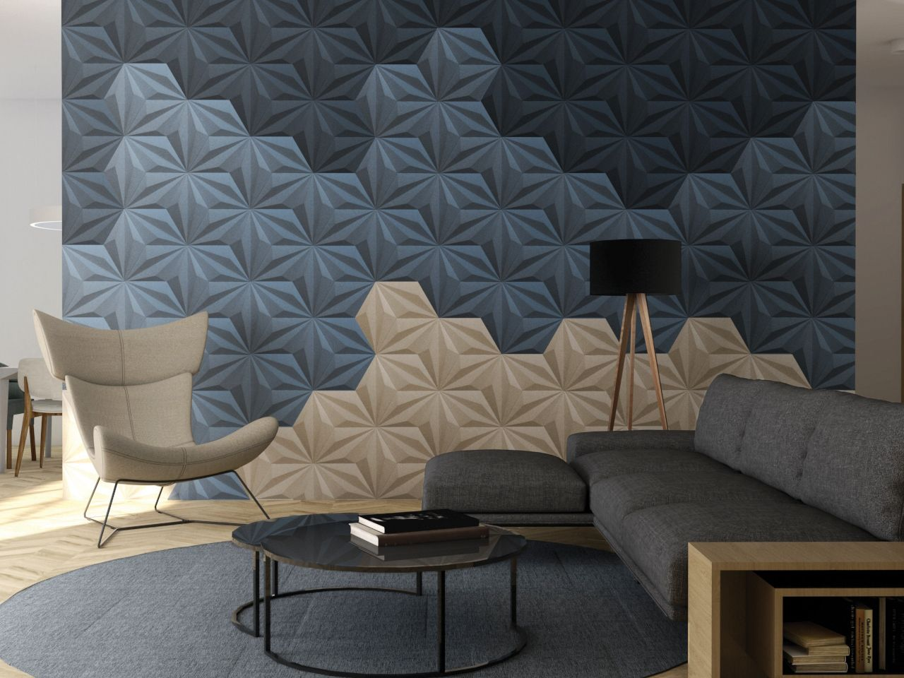 Re Cork 3d Decor Line Panels In Dark Blue Blue And Natural Wall Panel Design Cork Wall Panels Wall Paneling