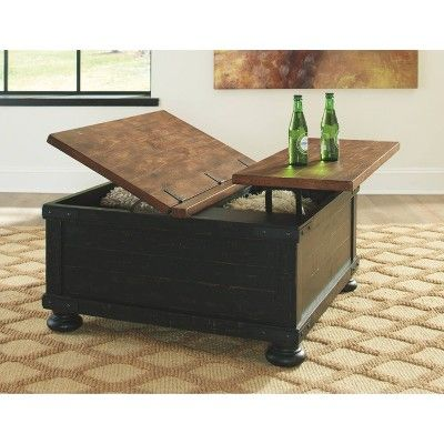 Valebeck Square Lift Top Cocktail Table Black Brown Signature