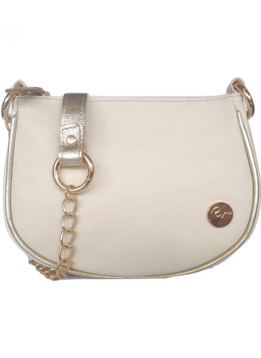 Cartera tipo bandolera de cuero blanca con detalles en dorado  Leather handbag
