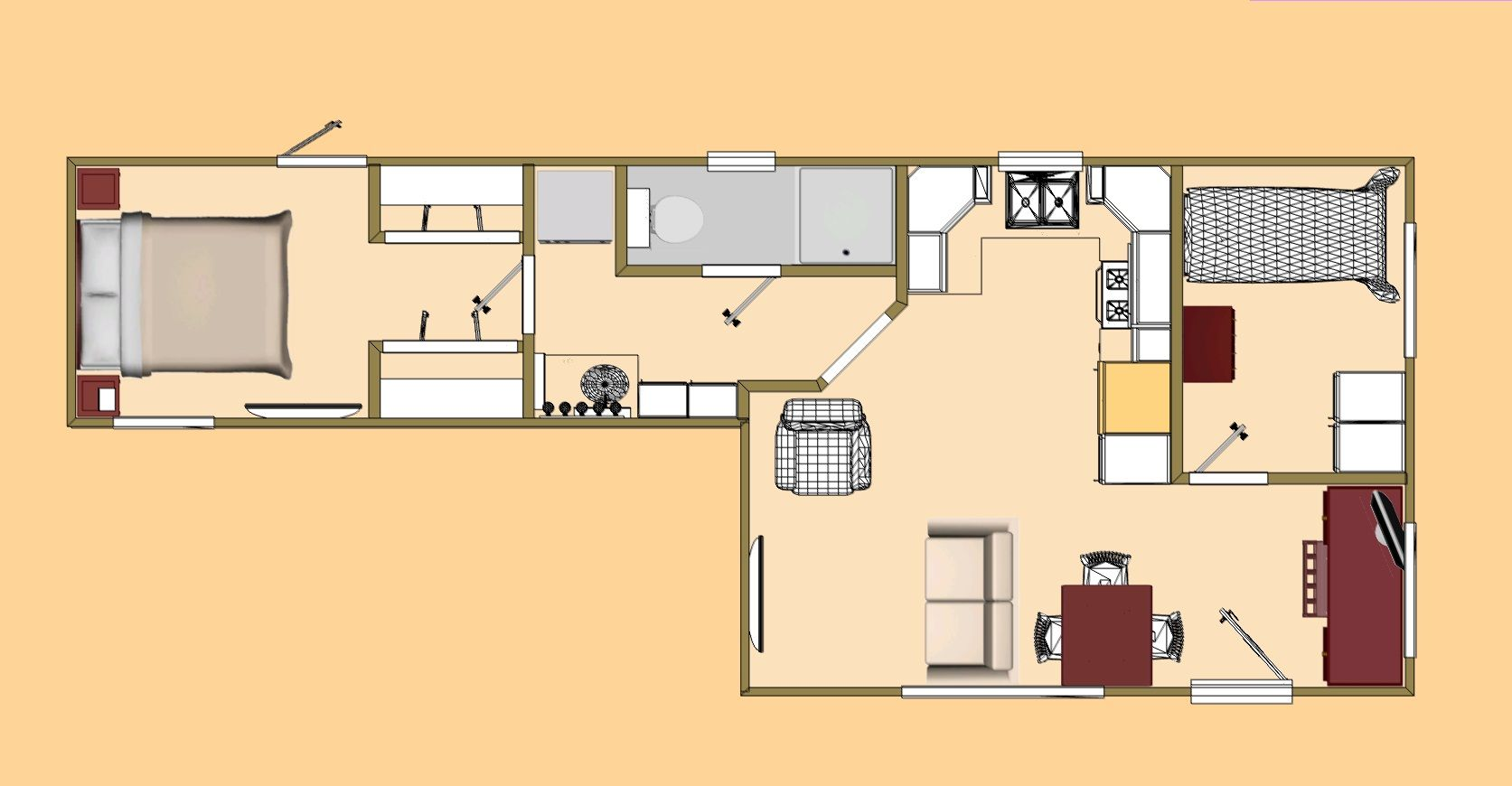 """The Floor Plan Of The 480 Ft² = 44.6 M² - """"Fat 7""""."""