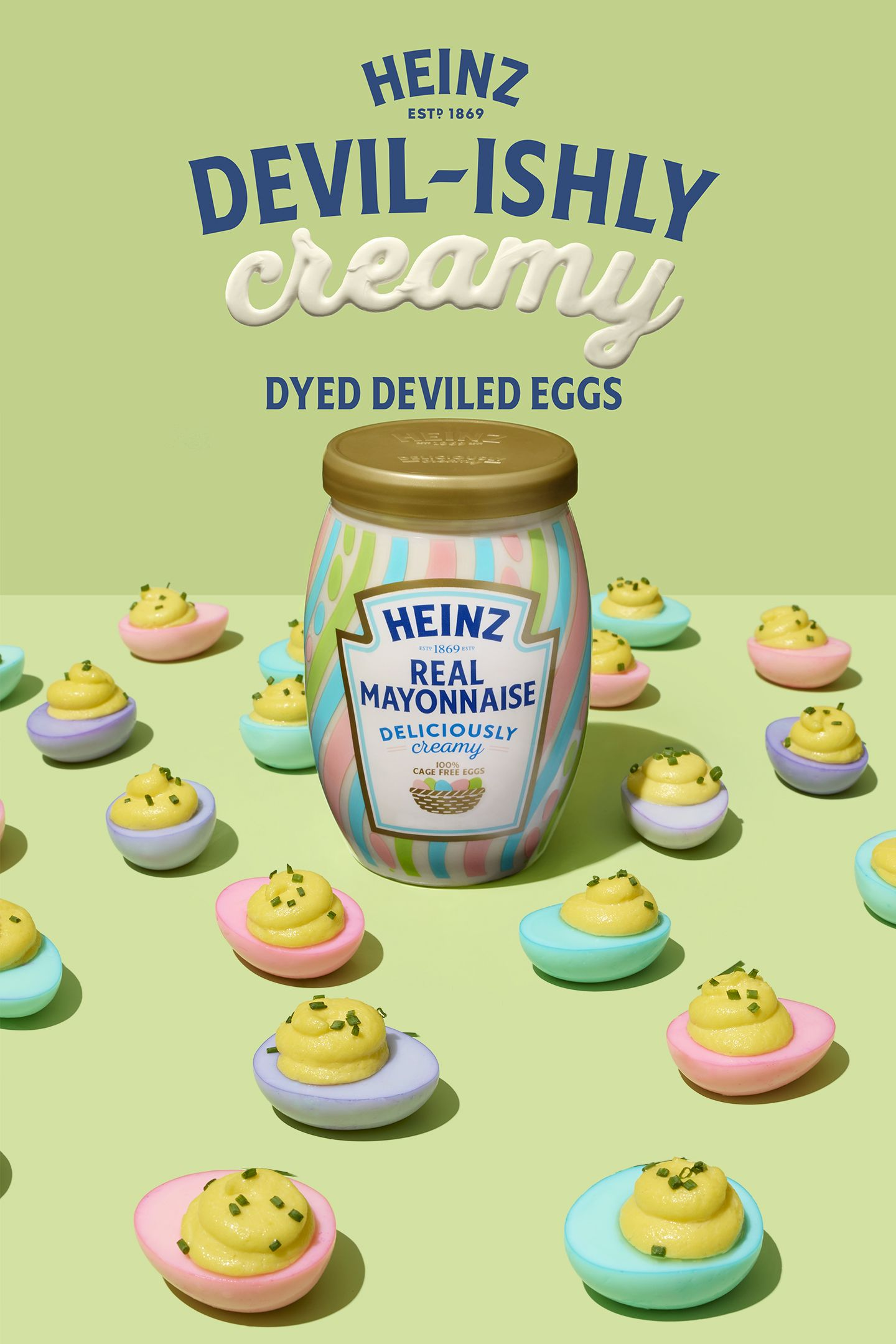 Snag your Limited Edition Heinz Deliciously Creamy Mayonnaise and show off your springtime colors with Devilishly Creamy Dyed Deviled Eggs! This new, limited edition jar is the secret ingredient making all your Easter recipes a little bit more deliciously creamy  It's the same mayonnaise you love, but available in a special jar that's perfect for springtime  is part of Dyed deviled eggs -