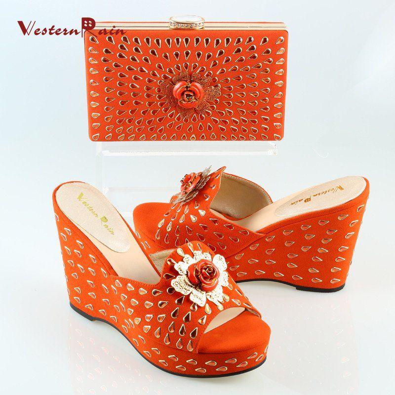 ed81a9a540c32f WesternRain New Design Fashion Wedge Heel Sandal Match to African Handbag  Shoes Set For Women Dress