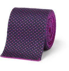 Etro Patterned Knitted Silk Tie