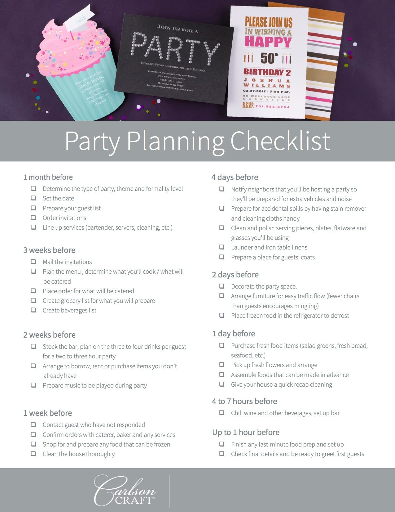 Party Planning Checklists and more! Party planning