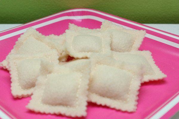 Felt RAVIOLI PASTA - Play Food Pretend Food - Fun felt food. $7.00, via Etsy.