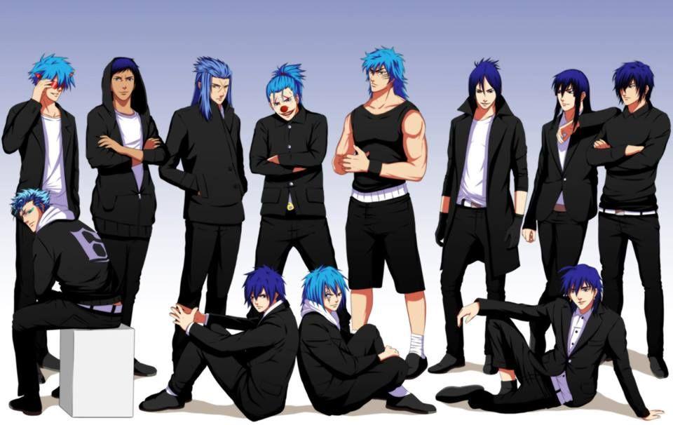 Grimmjow Jaegerjaquez (Bleach)  Kamina (Tengen Toppa Gurren Lagann)  Daiki Aomine (Kuroko no Basket)  Saix (Kingdom hearts)...  Jellal Fernandes (Fairy Tail)  Sieghart (Rave)  Buggy (One Piece)  Toriko (Toriko)  Mukuro Rokudo (Katekyo Hitman Reborn)  Sinbad (Magi: The Labyrinth of Magic)  Yu Kanda (D.Gray-man)  Saitou Hajime (Hakuouki Shinsengumi Kitan)