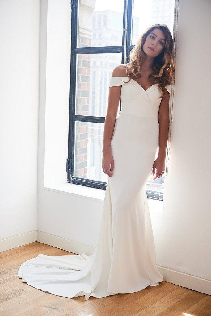 Off-the-shoulder Spandex Simple Ivory Wedding Gown Vestido ...