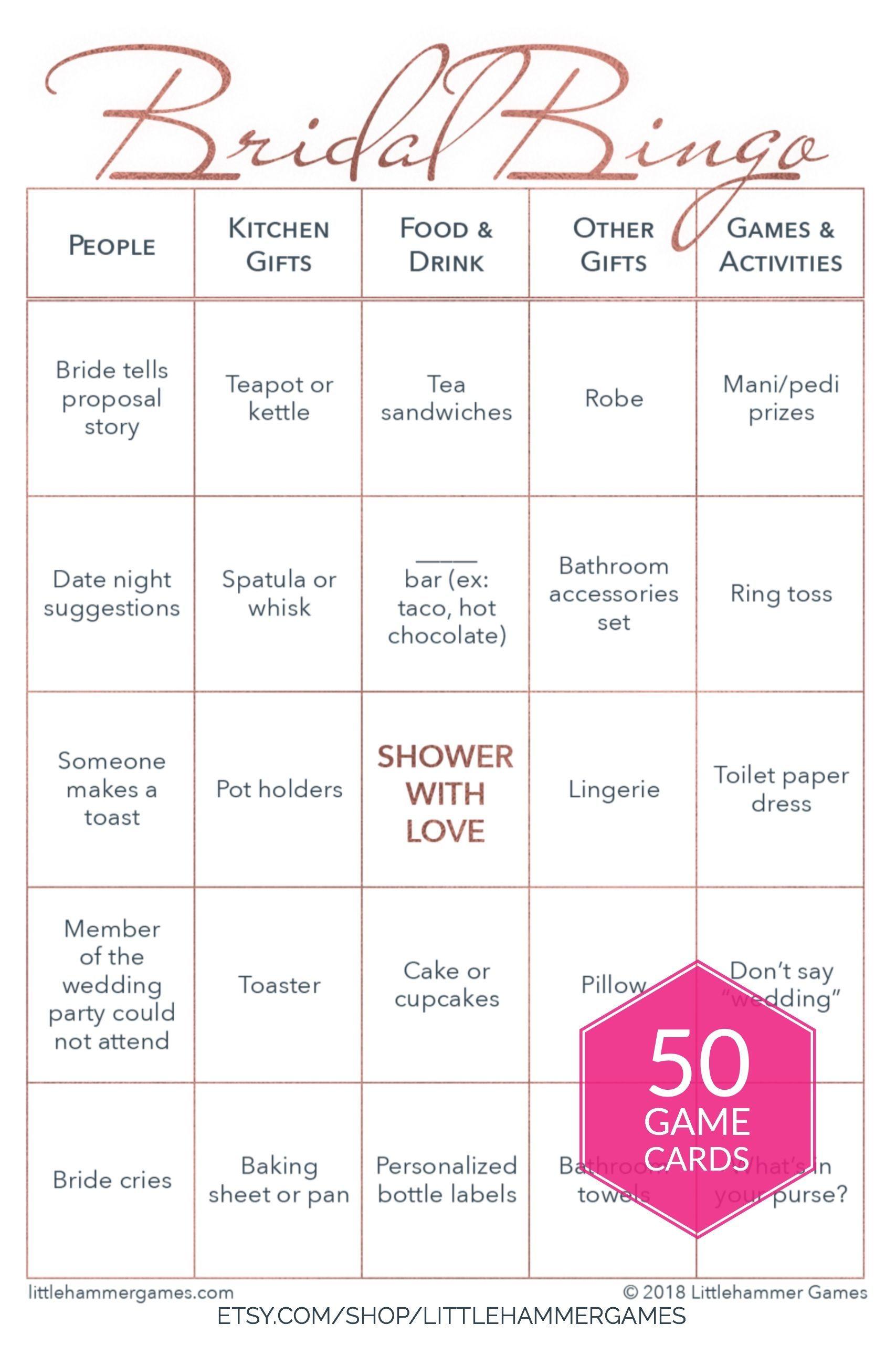 fun printable bridal shower game bridal bingo in a rose gold geometric design that can
