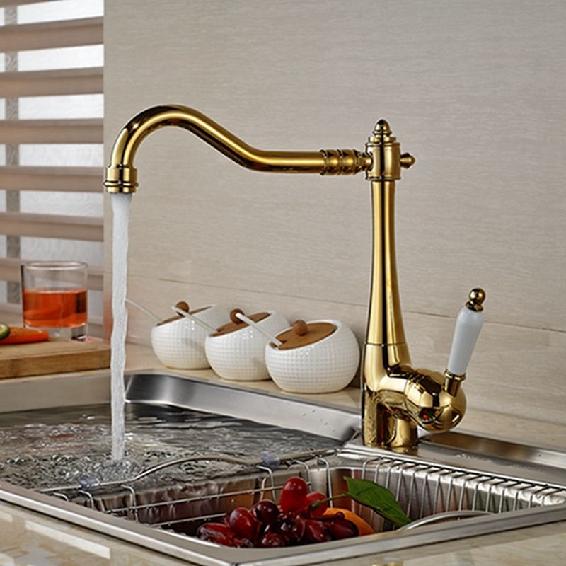 Wholesale And Retail Deck Mounted Golden Brass Kitchen Faucet Vessel ...