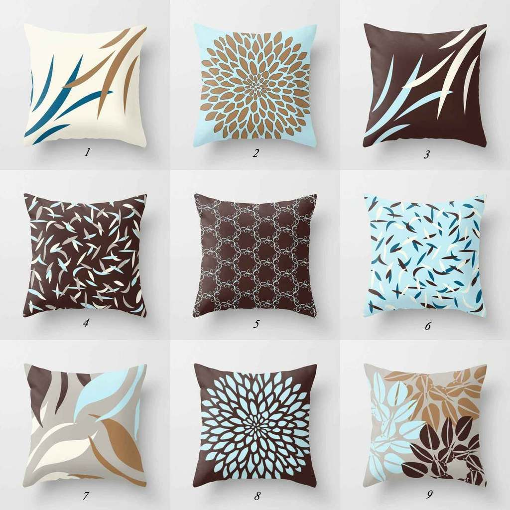 Brown And Blue Cushions With Floral And Geometric Design Brown Throw Pillows Brown And Blue Living Room Brown Couch Decor