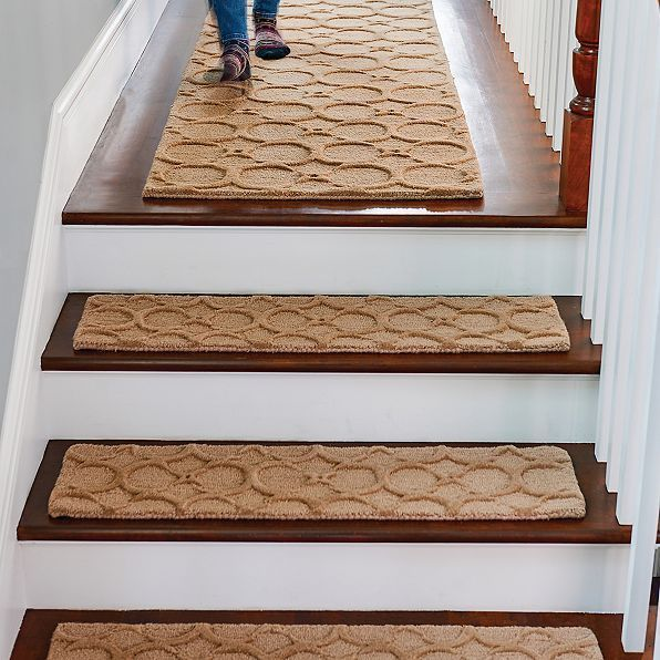 Best Taupe 36 Wool Stair Treads Set Of 4 Geometric Indoor Step 400 x 300