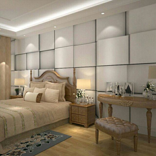 Design An Elegant Bedroom In 5 Easy Steps: 3D Fashion Simple Squares Wallpaper Custom Photo Wallpaper