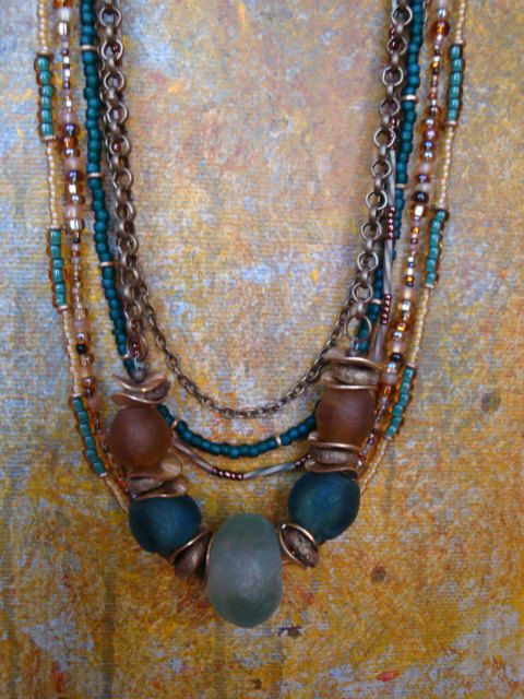 African Glass and Brass Beaded Necklace by StudioBeeZee on Etsy