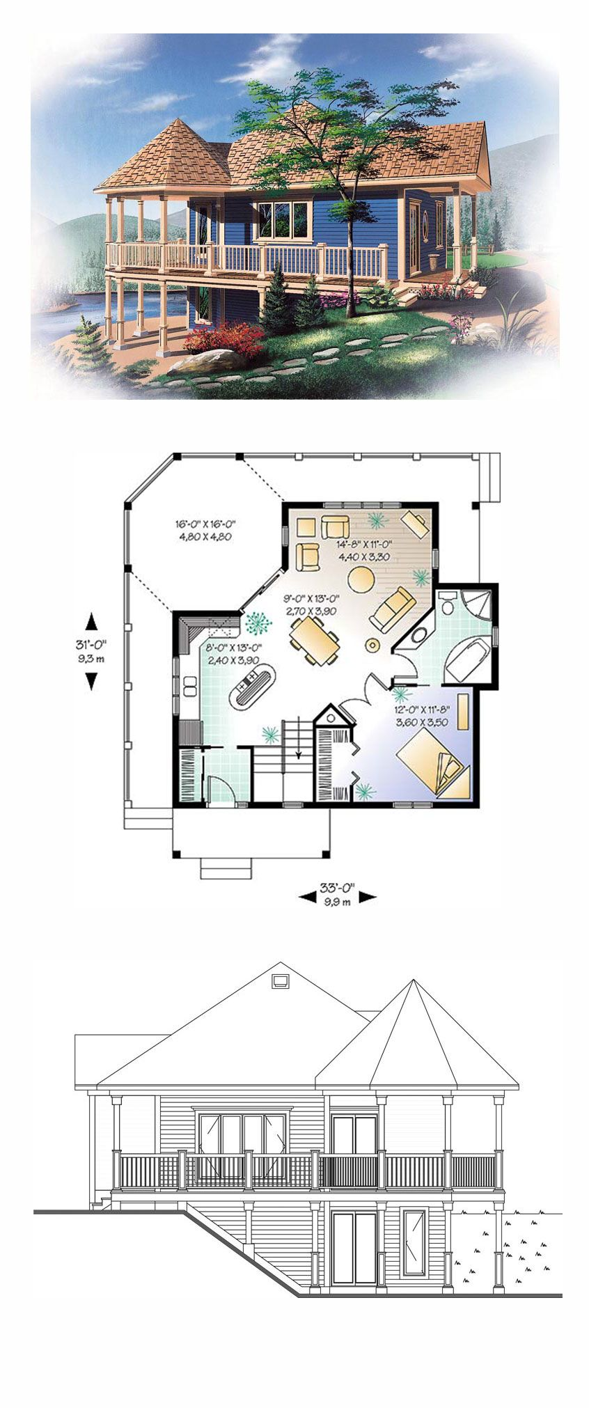 Lakefront style cool house plan id chp total living area