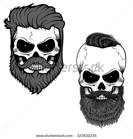 Bearded skull sugar skull with beard day of death vector illustration