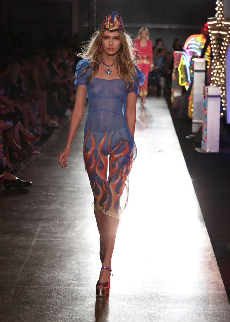 stella maxwell titties in see through blouse on the catwalk on
