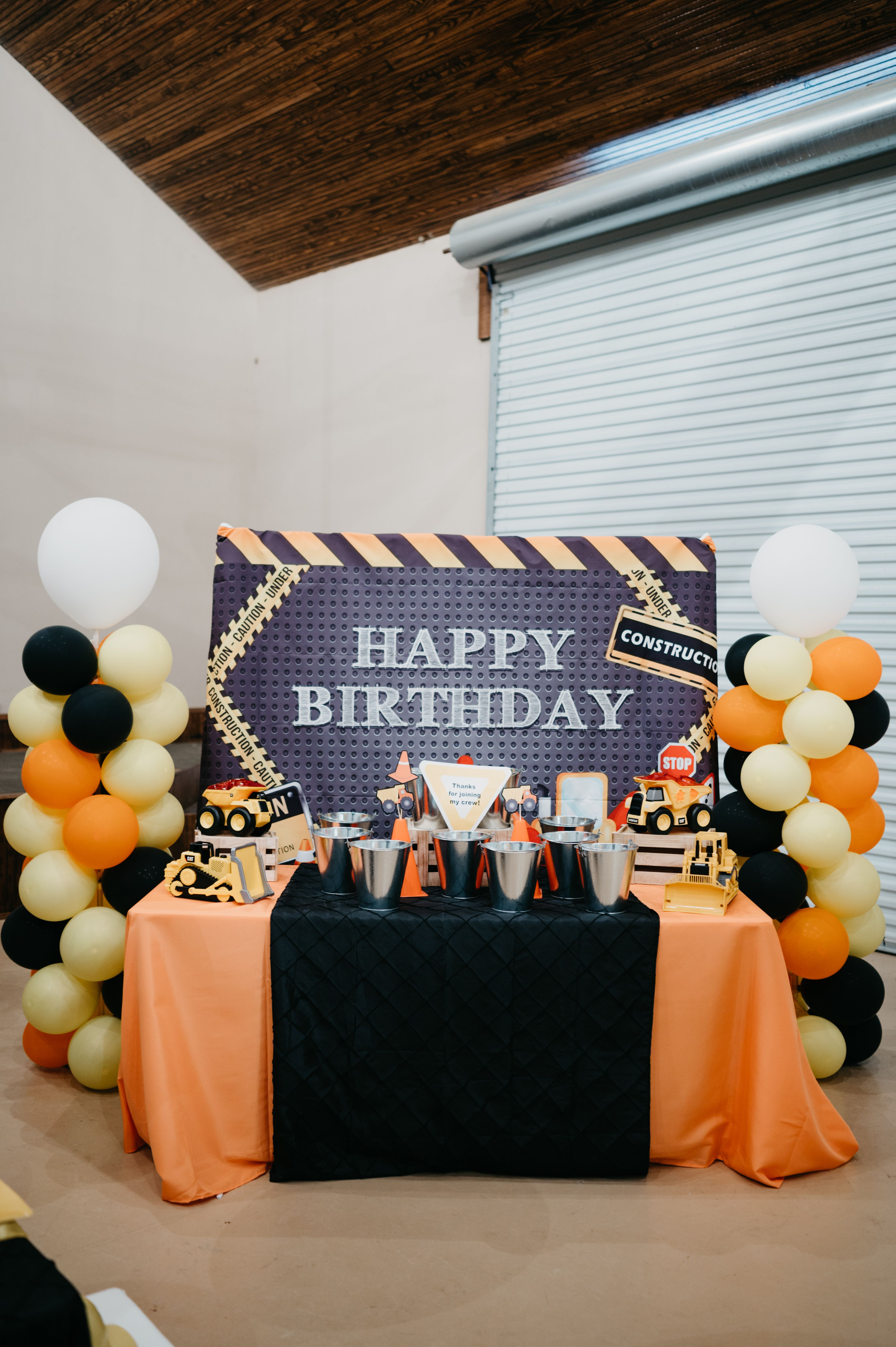Construction kids birthday party favor table