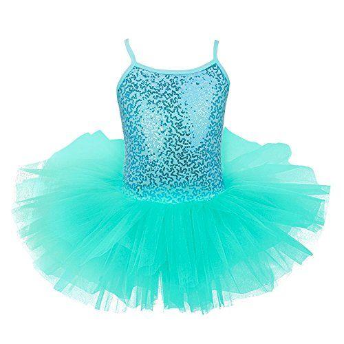 Kids Girls Sequined Ballet Tutu Dress Mermaid Gymnastics Leotard Sparkly Costume