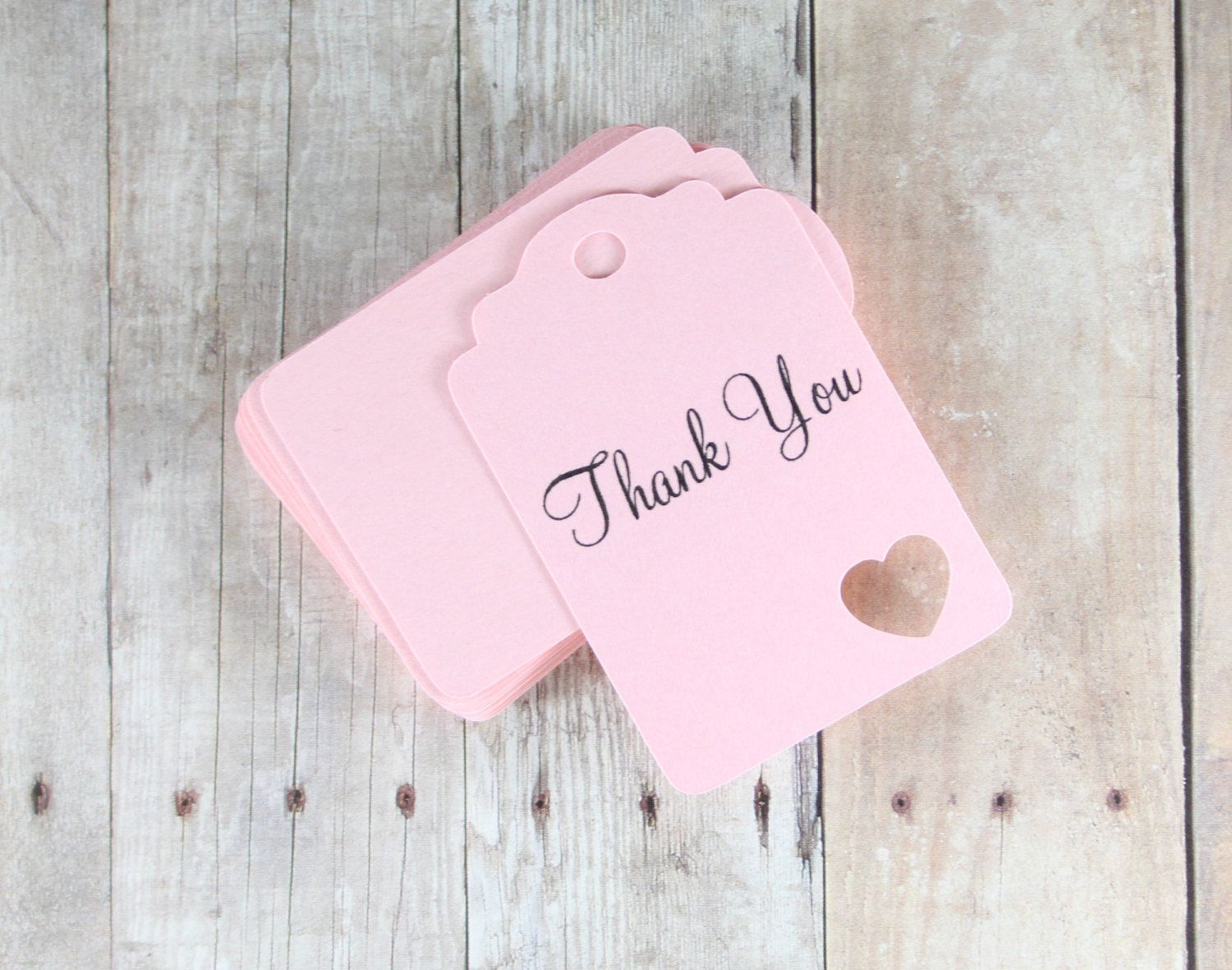 Light Pink Thank You Tags 20pc - Die Cut Gift Tags - Favor Tags ...