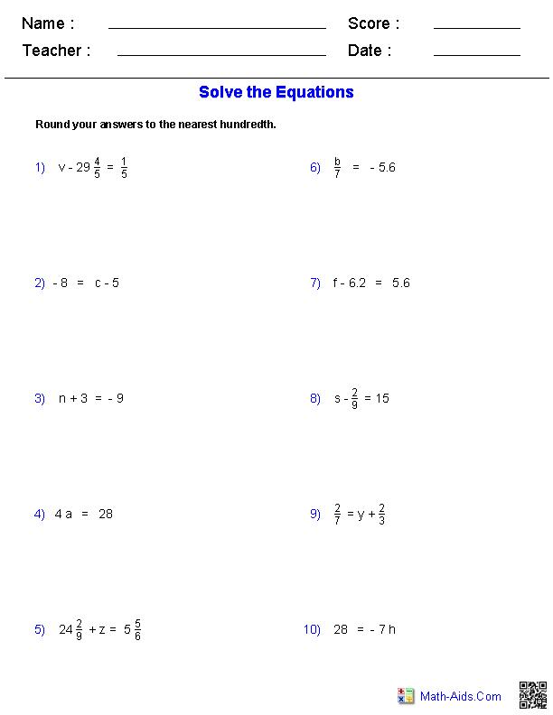 One Step Problems Worksheets Algebra Worksheets Word Problem Worksheets Equations