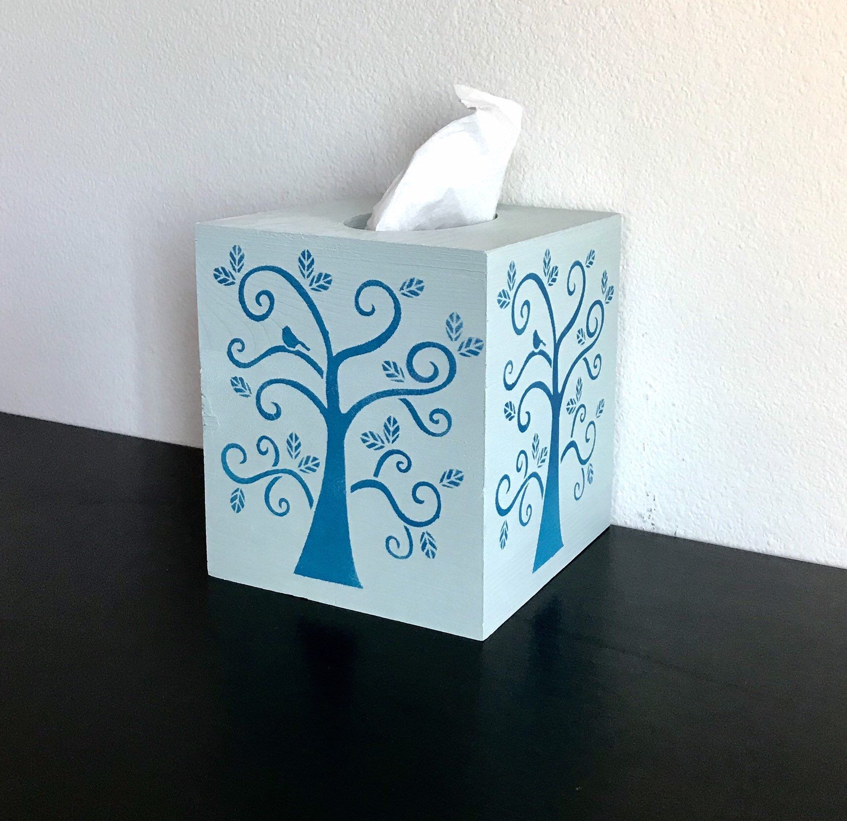 Excited to share this item from my #etsy shop: Beautiful Shades of BlueTree of life-Bohemian Decorative wooden custom tissue box cover/napkin holder--Original handmade (Square) #bathroom #tissueboxcover #contemporaryhome #deskdecoration #housewares #squaretissuebox #paintonwood