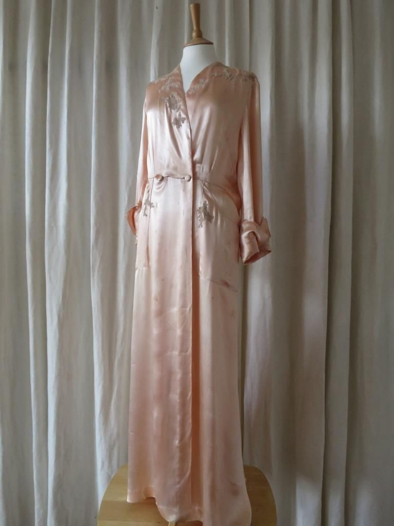 1920\'s peach satin dressing gown with pretty lace appliques. The ...
