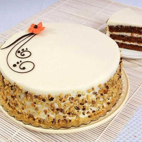 Carrot Cake Simple Piping Idea Plain Top With Nuts Cake