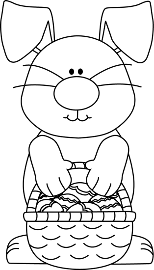 Black And White Bunny With An Easter Basket Clip Art Black And White Bunny With An Easter Basket Image Easter Coloring Pages Easter Colouring Easter Clipart