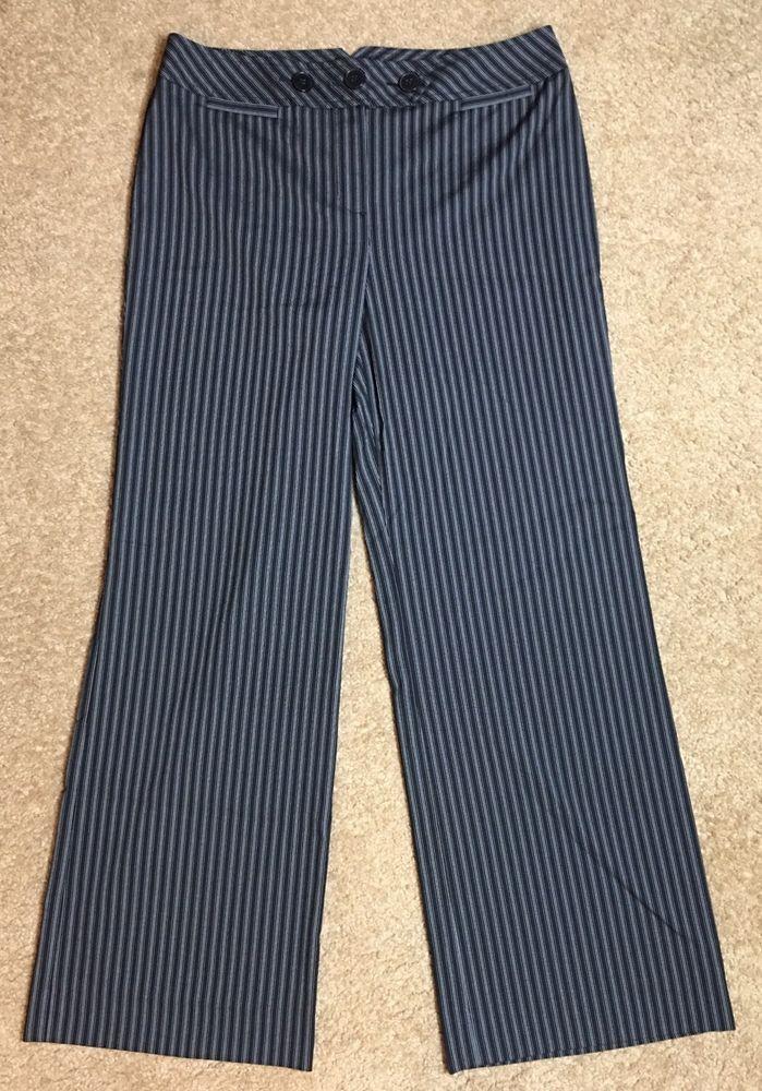 Sz 10 Ann Taylor Loft Julie Pants Black Striped Buy Five Get Free Shipping | eBay