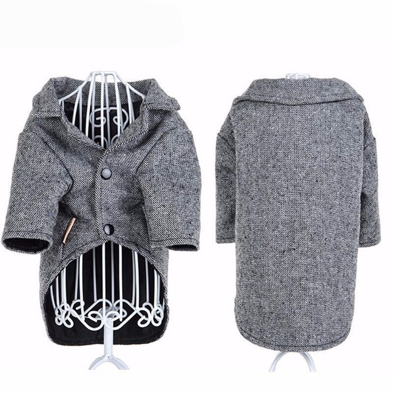 Dogs Groom Tuxedo Gray Twill Suit Jacket Pet Costume Winter Coat Formal Party Dress Puppy Clothes