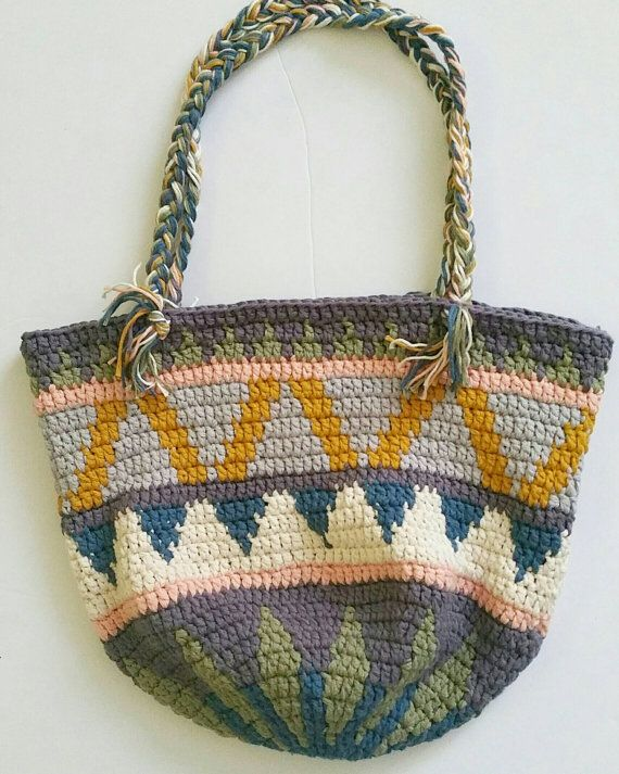 Crochet bag. Crochet tapestry bag. Market bag. Crochet handbag ...