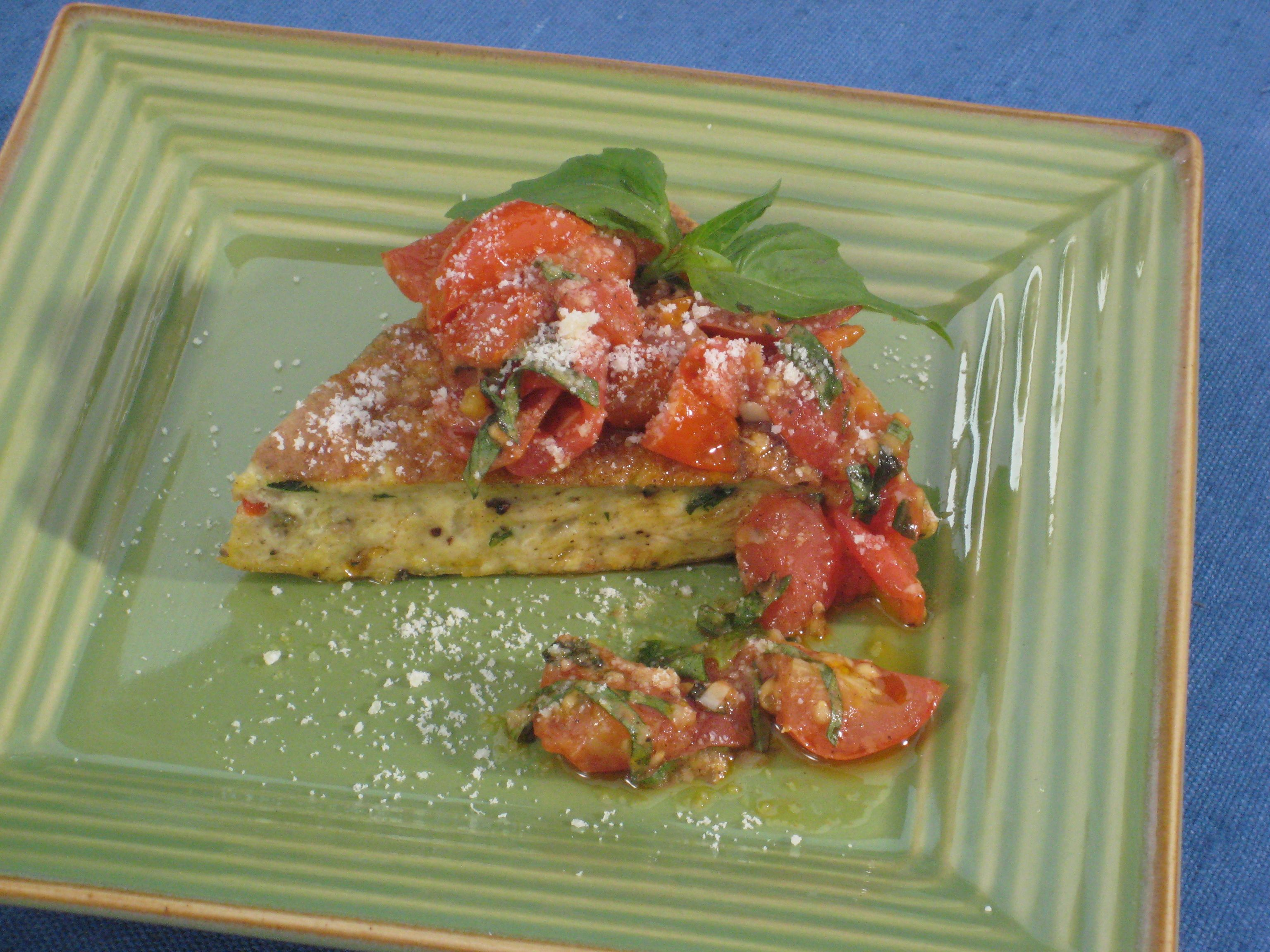 Frittata with Peppers and Onions with Roasted Cherry Tomato Sauce from CookingChannelTV.com