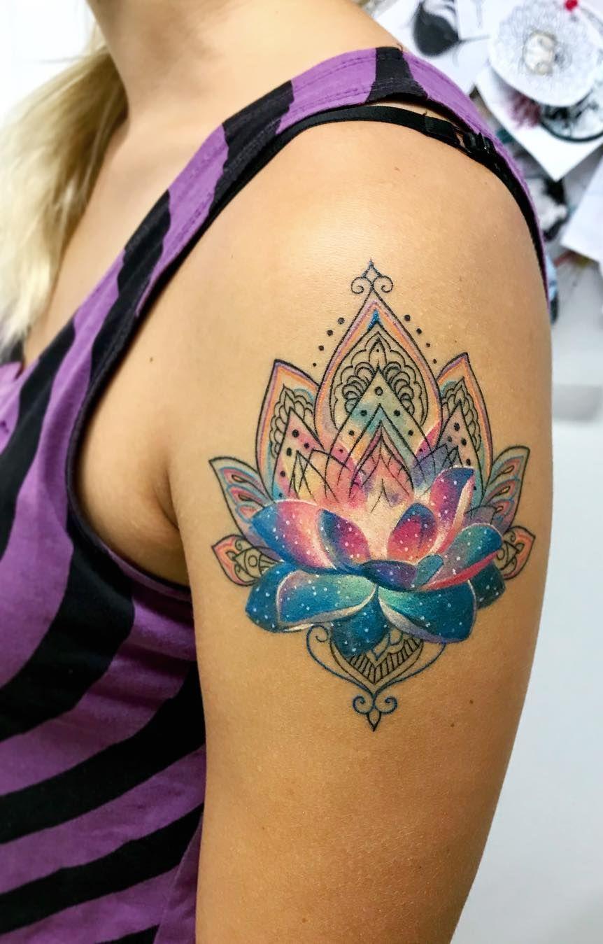 Galaxy Lotus Tattoo C Tattoo Artist Deborah Genchi Beautytatoos In 2020 Lotus Tattoo Shoulder Geometric Tattoo Hand Tattoos
