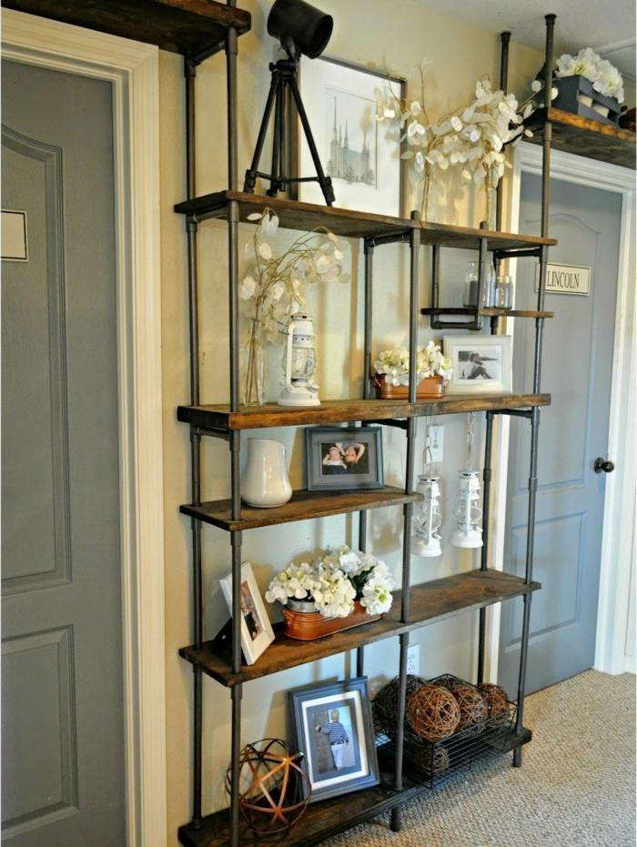 das fertige diy regal mit dekorationen wohnstil pinterest industrial pipes and industrial. Black Bedroom Furniture Sets. Home Design Ideas
