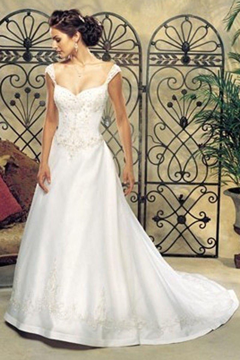 Aline sweetheart chapel train satin plus size wedding