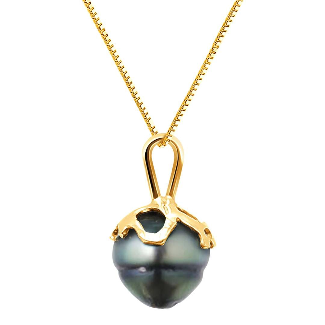 JYX Mysterious 9.5mm Black Tahitian Pearl Pendant in 14k Gold BmFZHxl