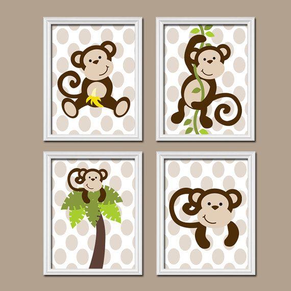 Boy Monkey Wall Art Canvas Or Prints Nursery Decor