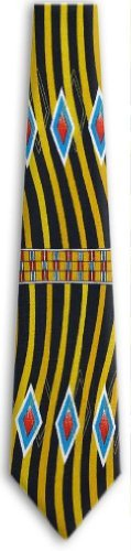 Black – Yellow – Aqua – Orange Retro Pattern Silk Necktie  http://www.yourneckties.com/black-yellow-aqua-orange-retro-pattern-silk-necktie/